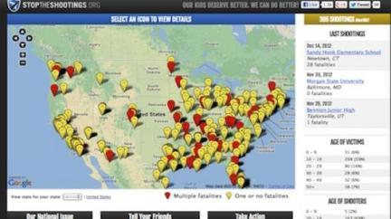 Map delineating 387 school shootings since 1992.