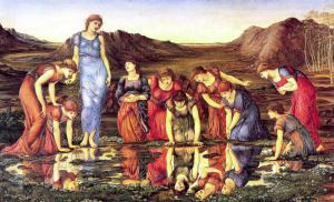 (The Mirror of Venus, Sir Edward Coley Burne-Jones, Bt ARA. 1898)