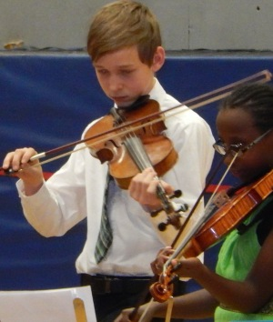 Aidan playing at the last concert with David at Marlboro Elementary.